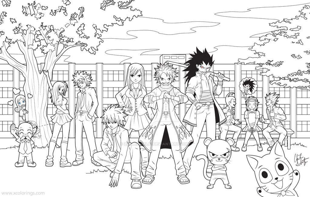 Free Fairy Tail Academy Coloring Pages printable