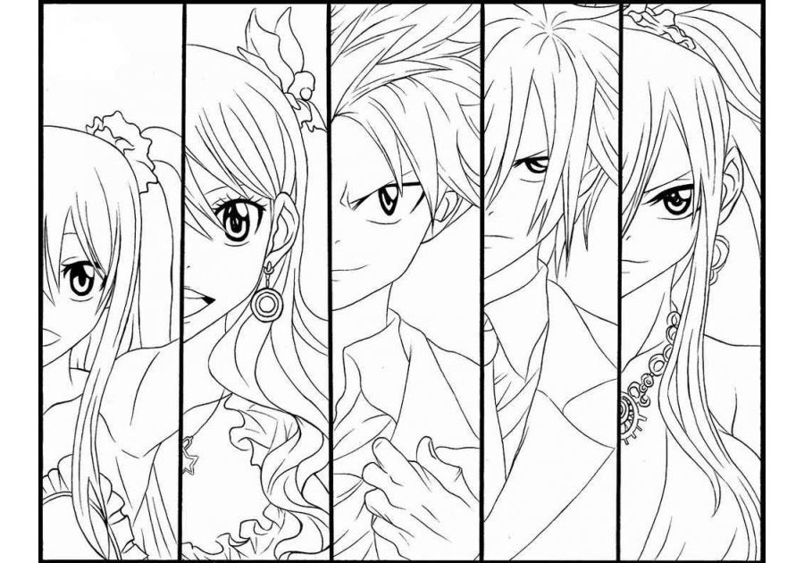 Free Fairy Tail Coloring Pages Main Characters printable