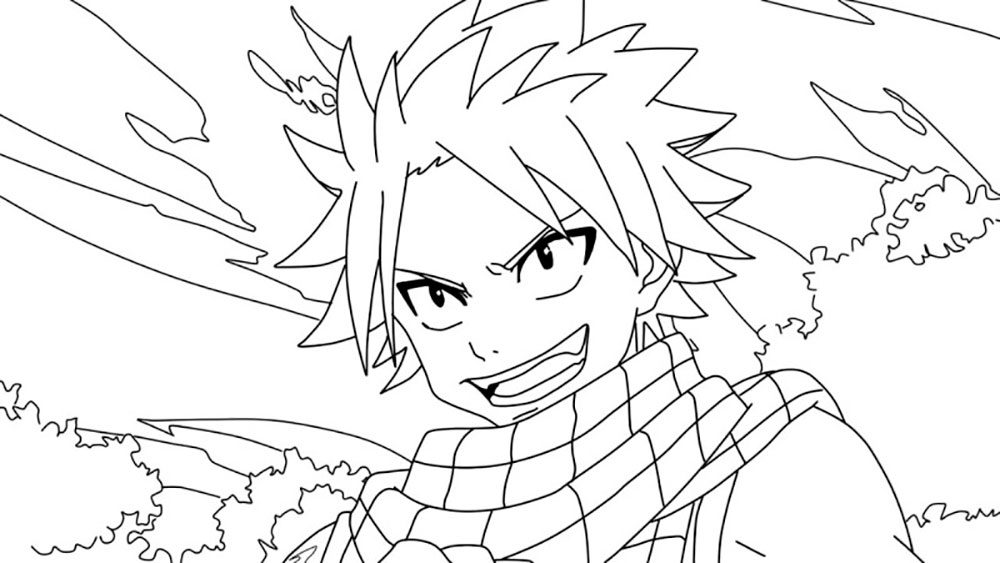 Free Fairy Tail Coloring Pages Natsu Outline printable
