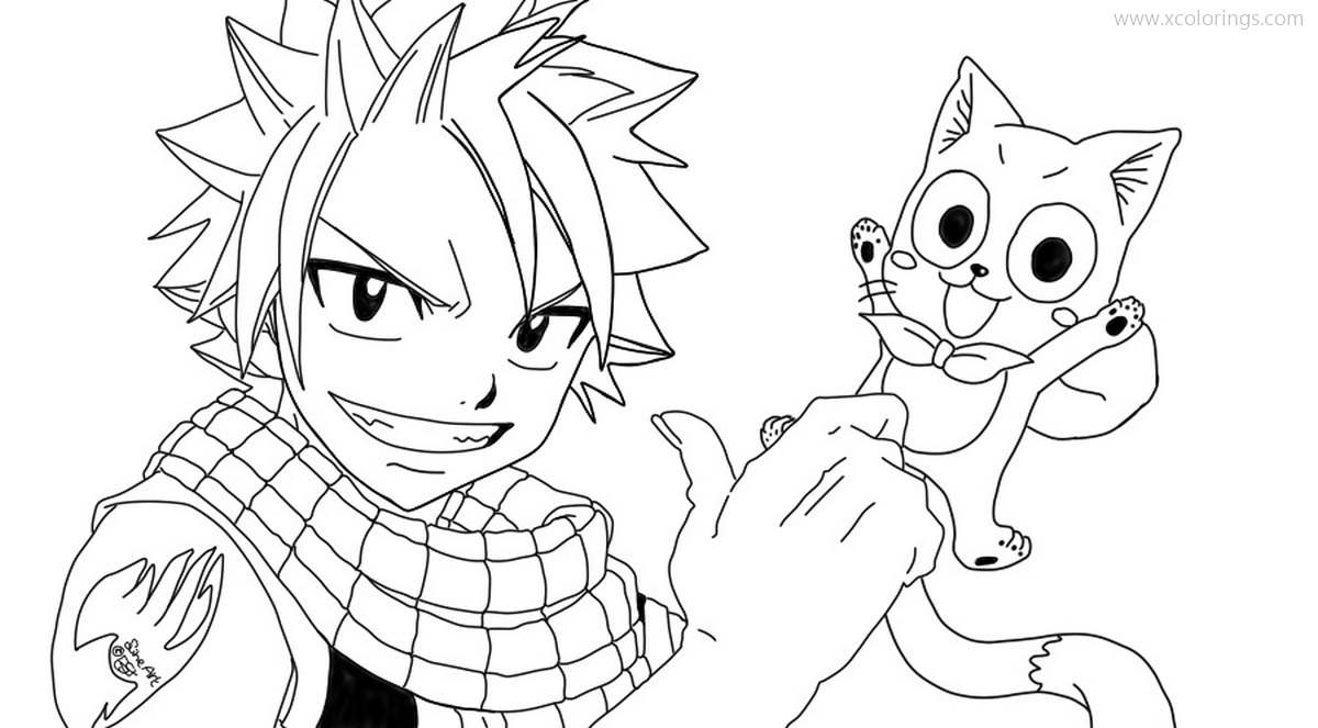 Fairy Tail Coloring Pages Natsu And Happy Cat Xcolorings Com