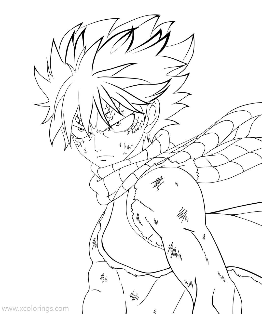 Free Fairy Tail Coloring Pages Powerful Natsu printable