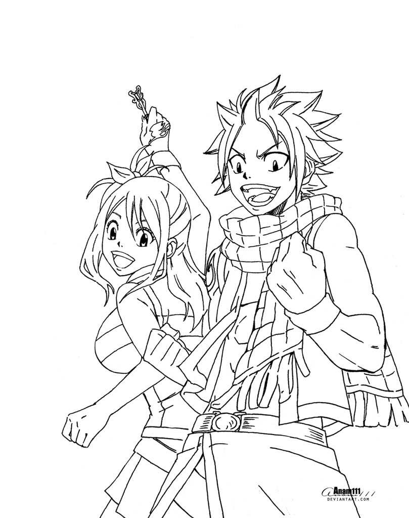 Free Fairy Tail Natsu and Erza Coloring Pages printable