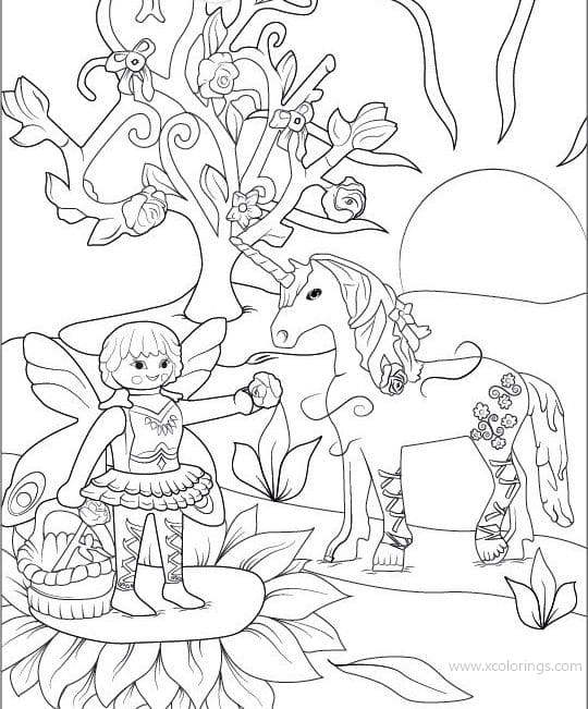 Fairy And Unicorn From Playmobil Coloring Pages Xcolorings Com