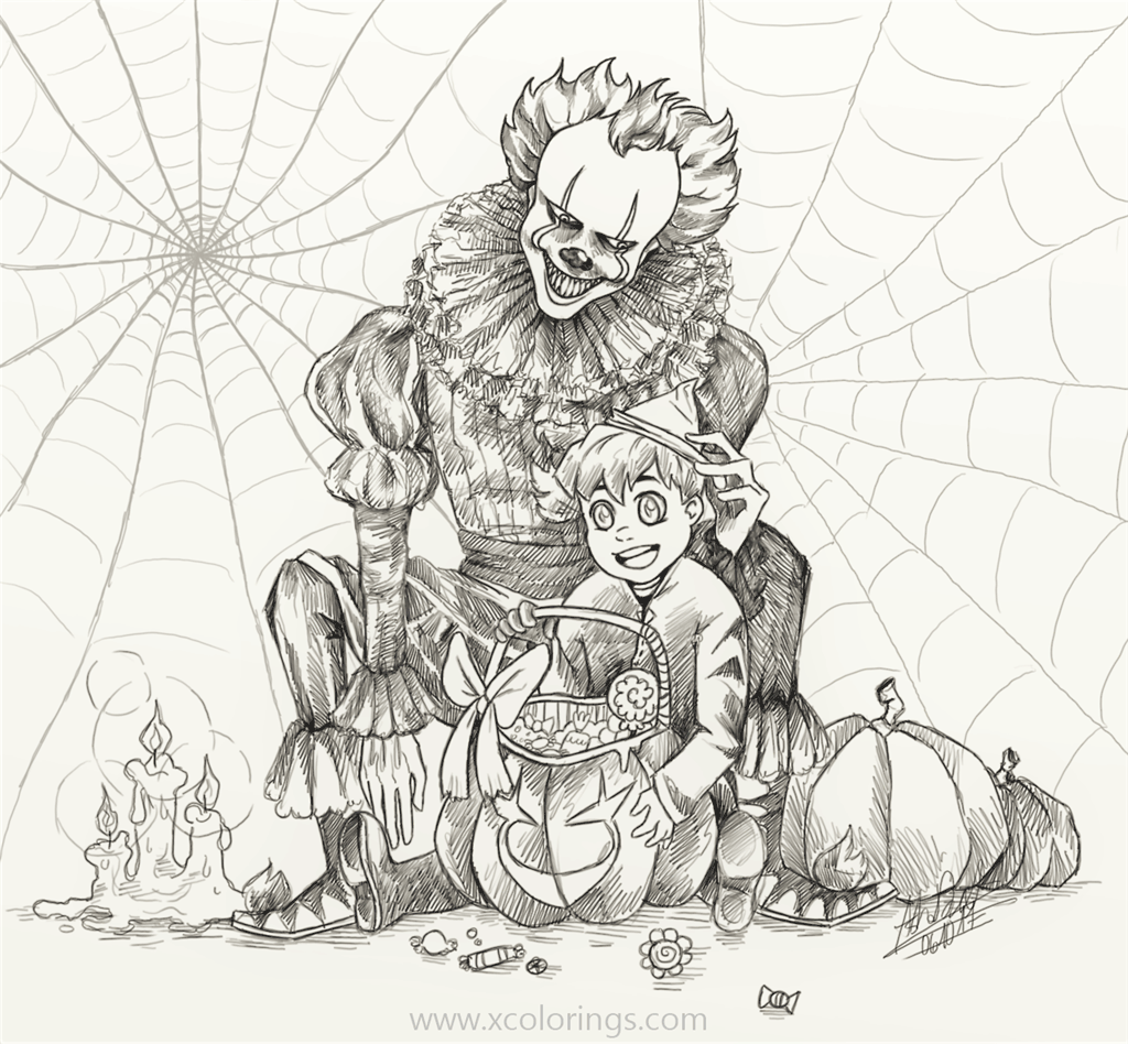 Hallow Pennywise With Girl Coloring Pages Xcolorings Com