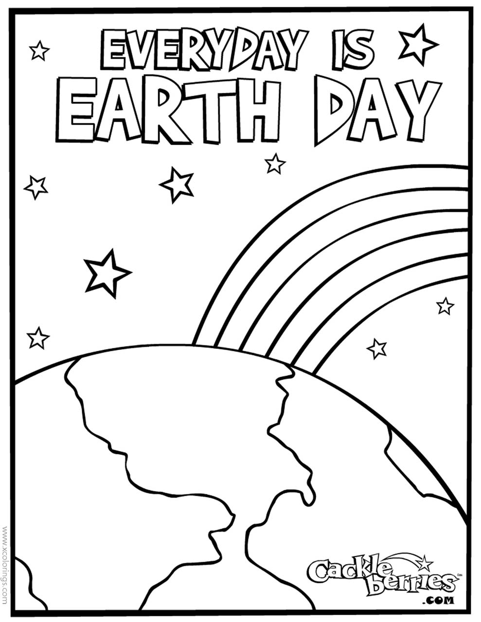 Free Happy Earth Day Design Coloring Pages printable