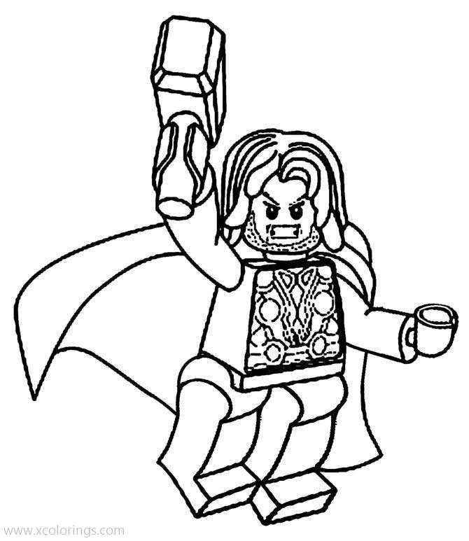 Lego Marvel Superhero Thor Coloring Pages - XColorings.com