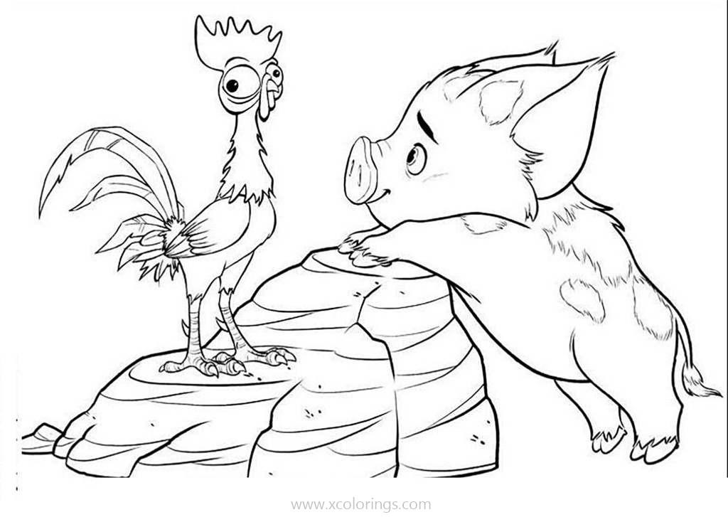 Moana Coloring Pages Animals Xcolorings Com