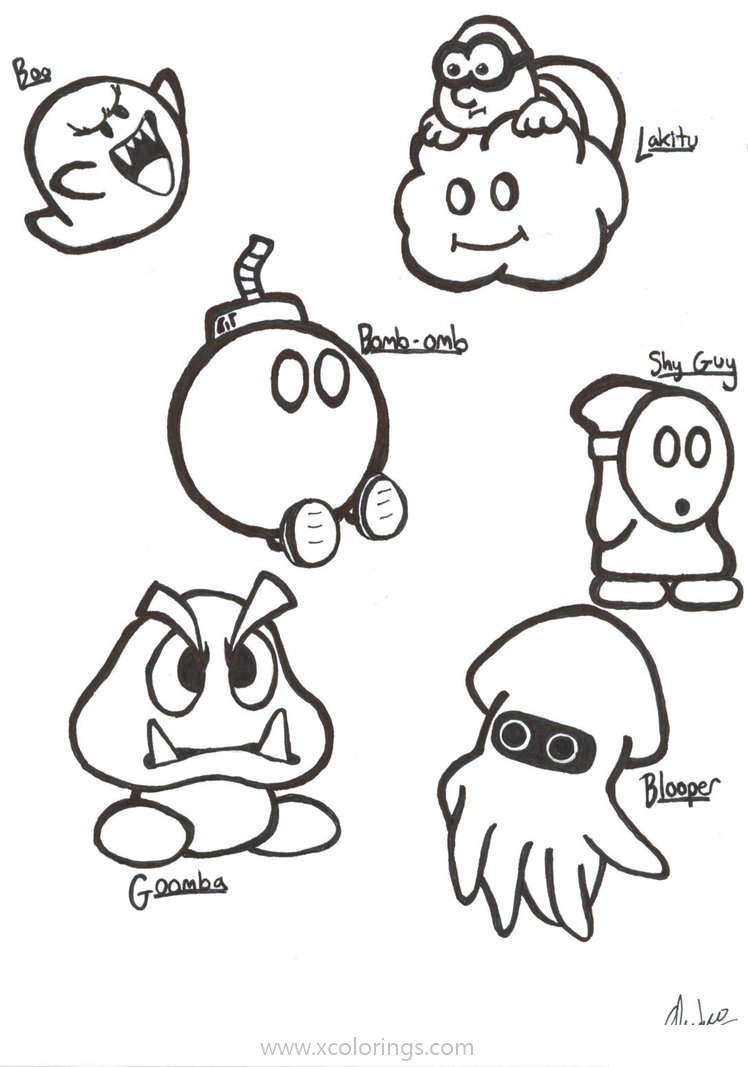 Paper Mario Coloring Pages Bad Characters Xcolorings Com