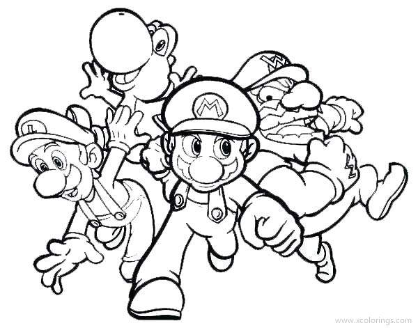 Paper Mario Coloring Pages Mario Luigi And Yoshi - XColorings.com