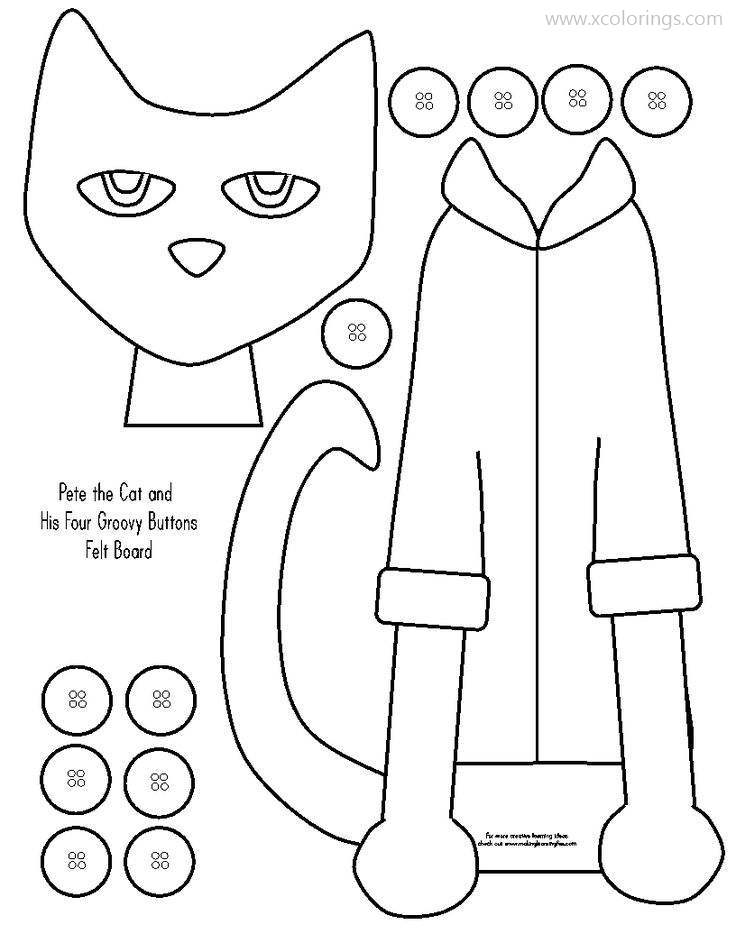 Pete The Cat Coloring Pages Paper Craft Template Xcolorings Com