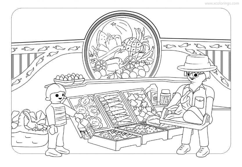 Playmobil Coloring Pages Supermarket Xcolorings Com