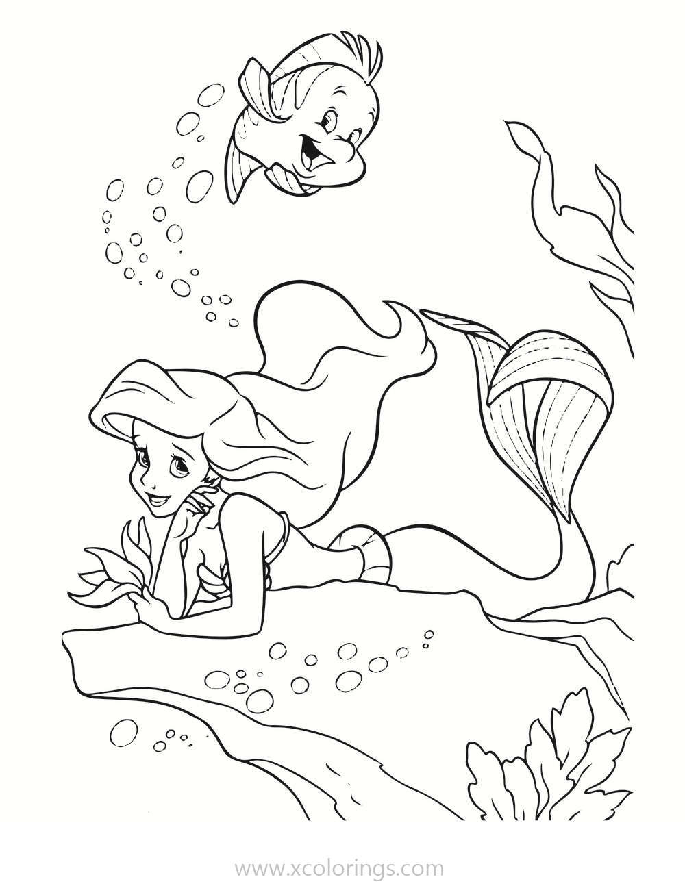 Princess Ariel And Flounder The Little Mermaid Coloring Pages Xcolorings Com