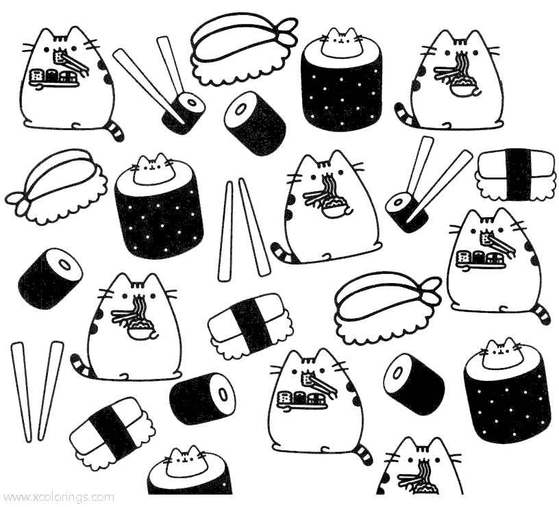- Pusheen Cat Eating Sushi Coloring Pages - XColorings.com