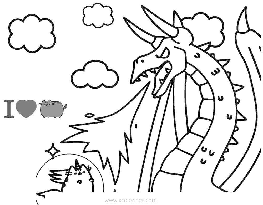 - Pusheen Cat And Dragon Coloring Pages - XColorings.com