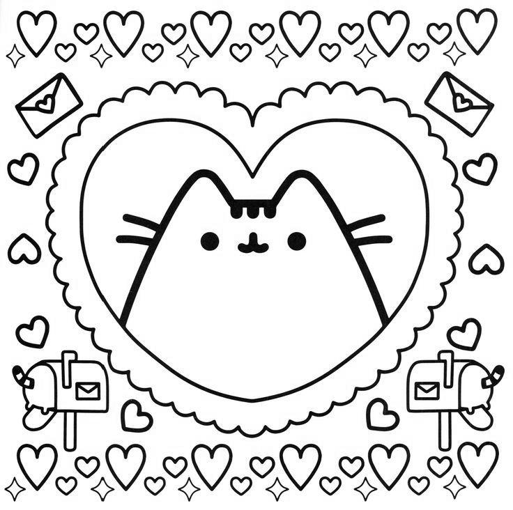 Free Pusheen Coloring Pages Happy Valentines Day printable