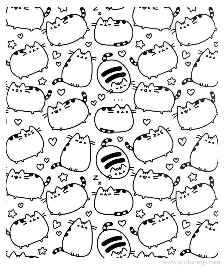 Small Pusheen Coloring Pages Xcolorings Com