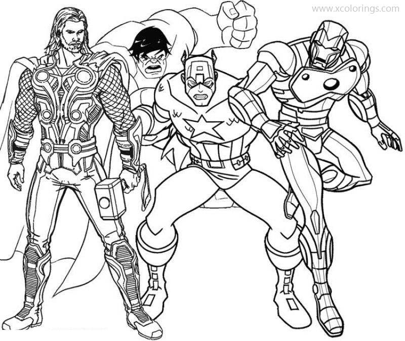 Thor With Hulk Captain America Coloring Pages - XColorings.com