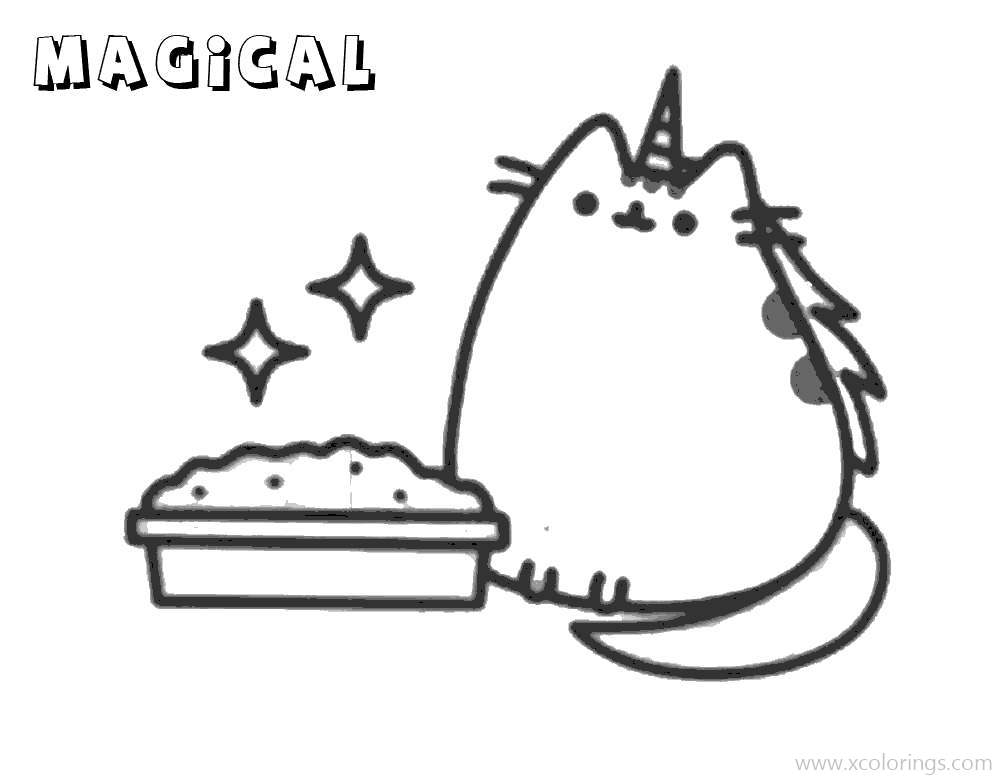 Unicorn Pusheen With Magic Coloring Pages Xcolorings Com