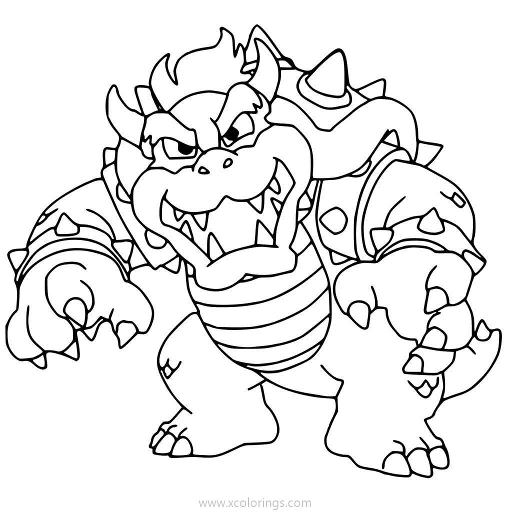 Free Villain Bowser Coloring Pages printable