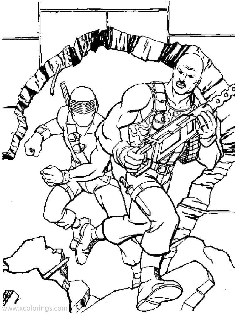 Free Action Man Coloring Pages Character with Weapons printable