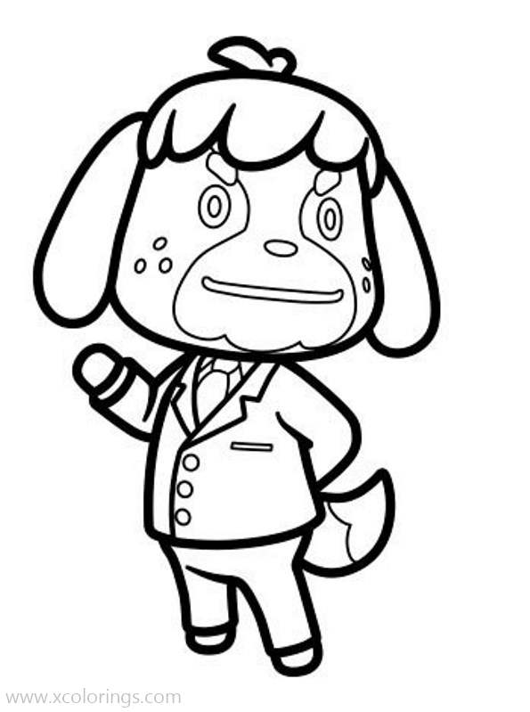Free Animal Crossing Coloring Pages Shep the Dog printable