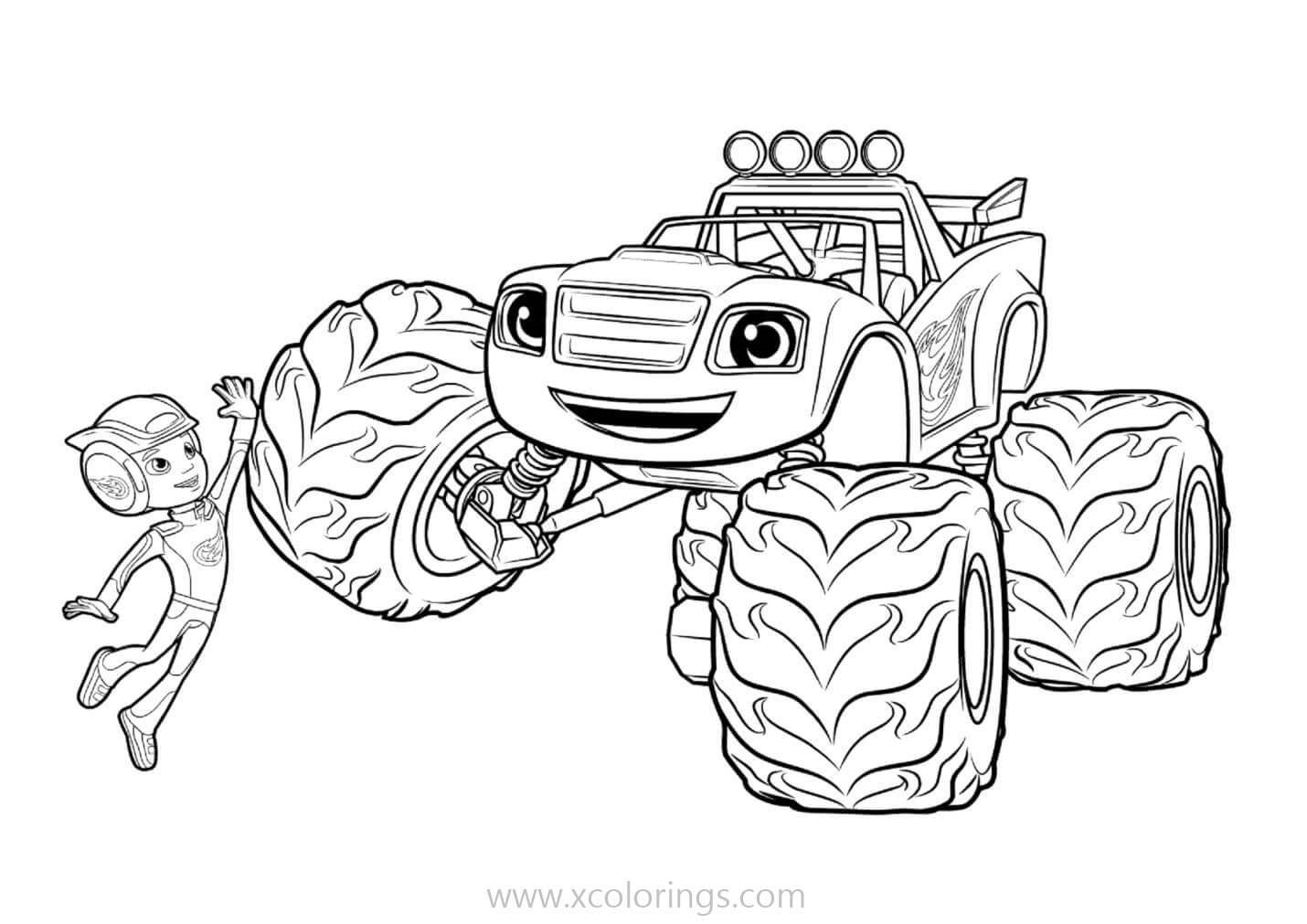 Blaze And The Monster Machines Coloring Pages Give Me Five Xcolorings Com