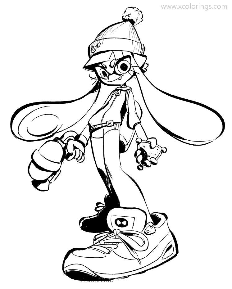 Free Game Splatoon Coloring Pages Inkling printable
