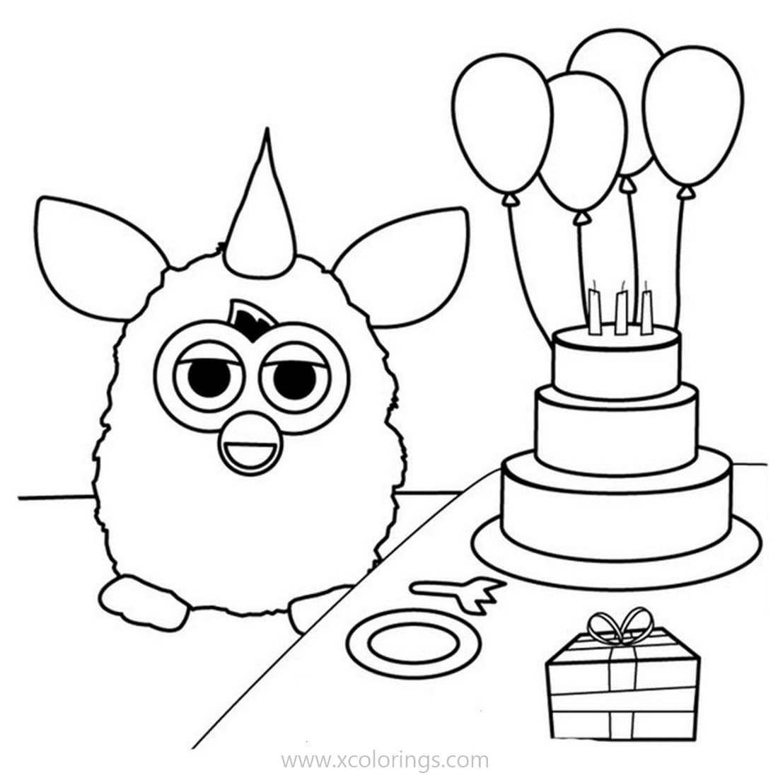 Free Happy Birthday Furby Coloring Pages printable