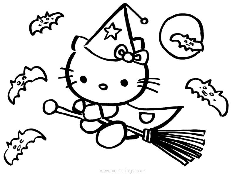 Hello Kitty Halloween Coloring Pages Witch Flying With Bats Xcolorings Com