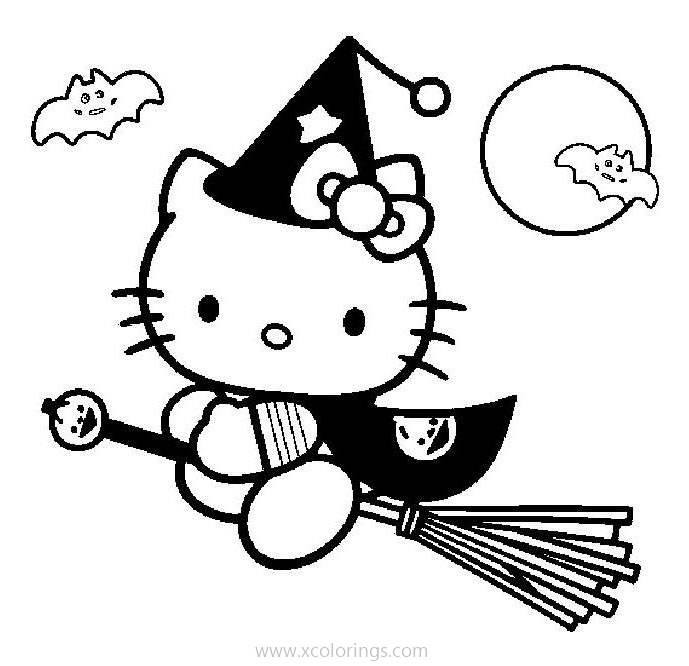 Hello Kitty Halloween Witch Coloring Pages Xcolorings Com