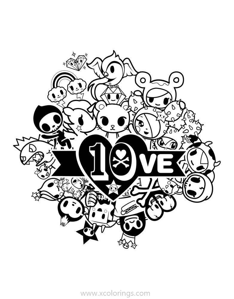 Tokidoki Love Coloring Pages - XColorings.com