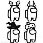 Among Us Coloring Page Halloween Costumes SKins Hats