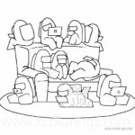 Among Us Coloring Pages Characters Spaceship Crew