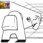Among Us Coloring Pages Entrance of the Spaceship