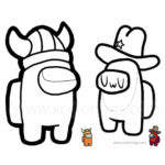 Among Us Coloring Pages Viking and Cowboy