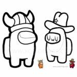Among Us Coloring Pages Viking and Cowboy