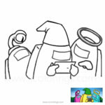 Among Us Coloring Pages Work with Laptop