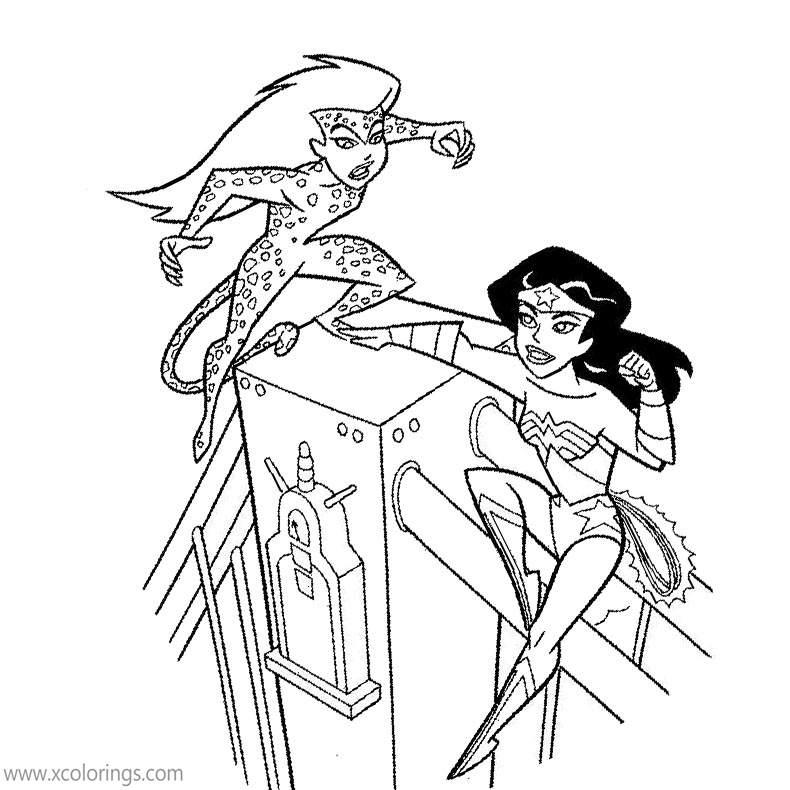 Animated Wonder Woman Fighting Cheetah Coloring Pages Xcolorings Com
