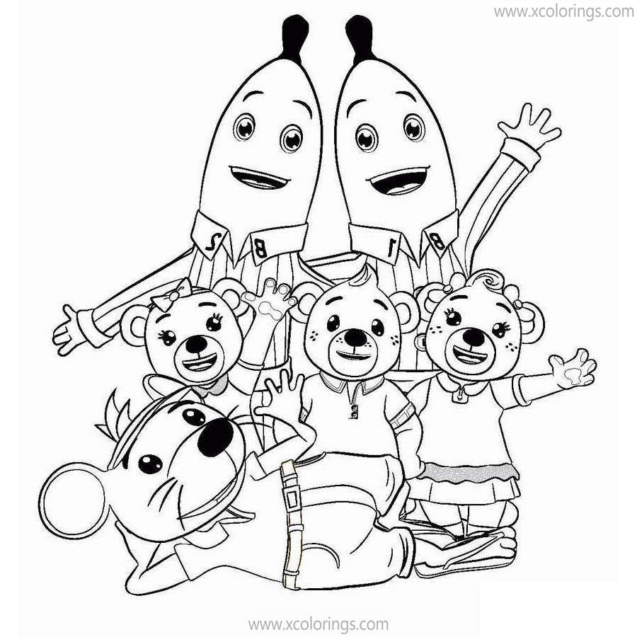 Free Bananas In Pajamas Coloring Pages Characters printable