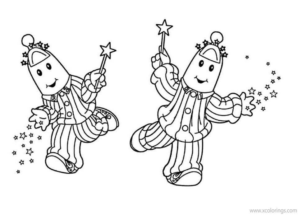 Free Bananas In Pajamas Coloring Pages Playing with Stars printable