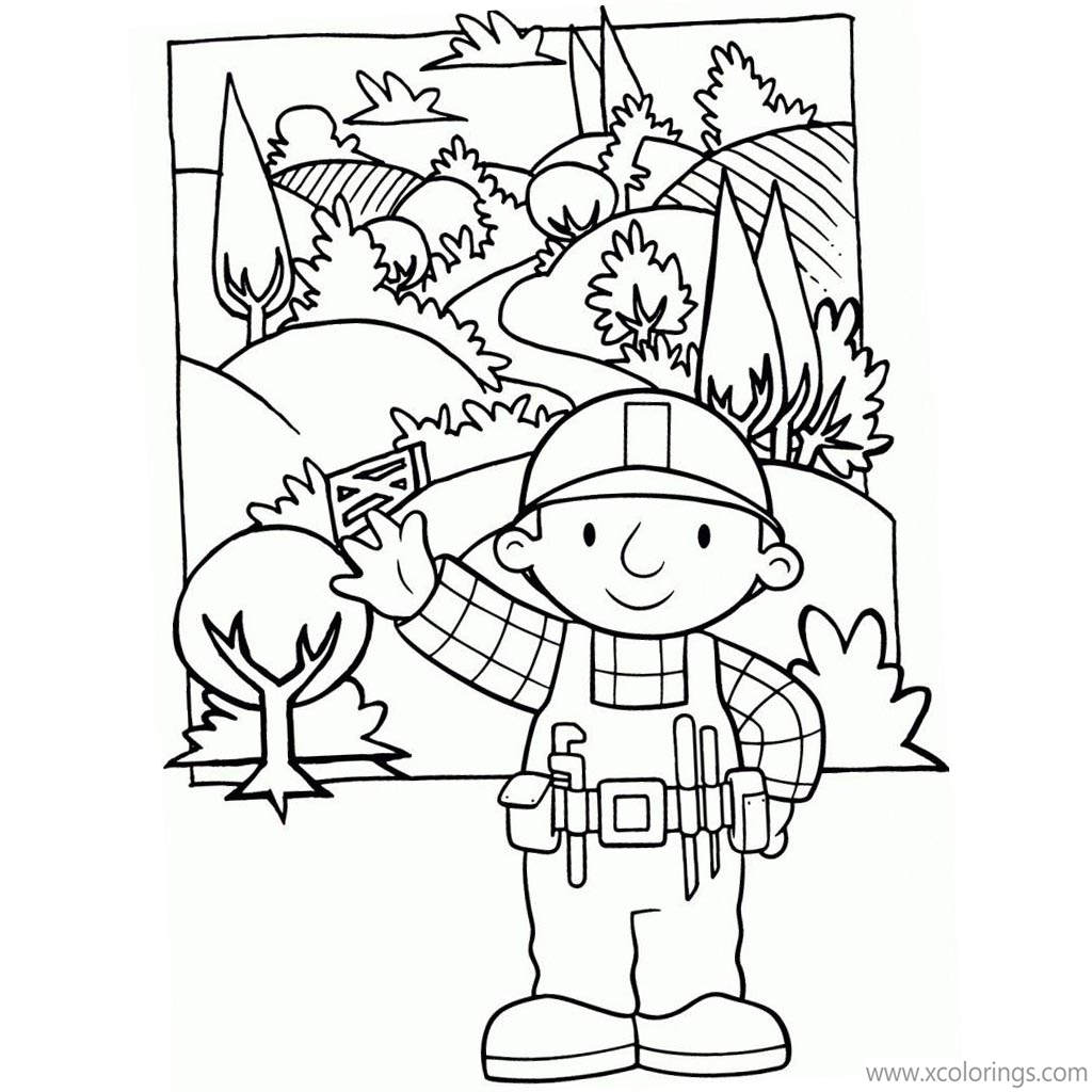Free Bob The Builder Coloring Pages Bob Waving His Hand printable