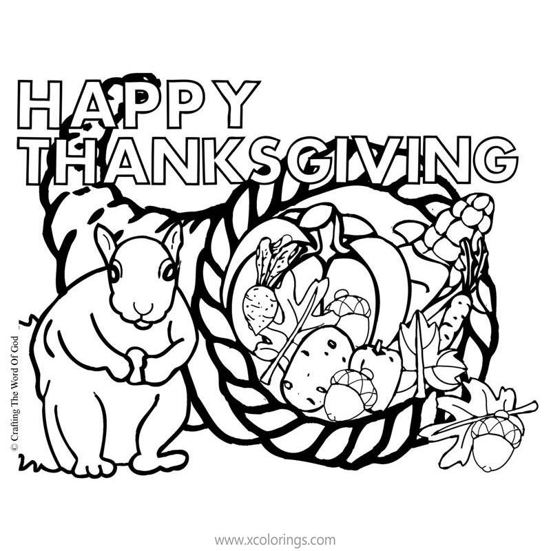 Free Cornucopia Coloring Pages with Squirrel and Nuts printable