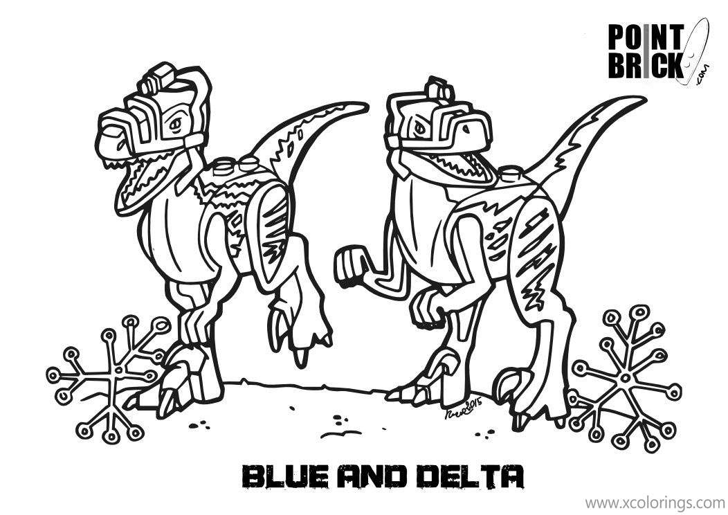 Lego Jurassic World Coloring Pages Velociraptor Blue And Delta Xcolorings Com