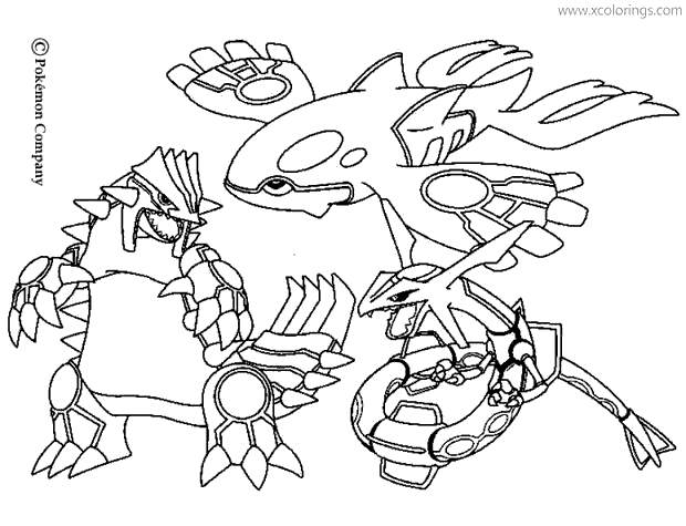 Mega Pokemon Coloring Pages Groudon And Rayquaza Xcolorings Com