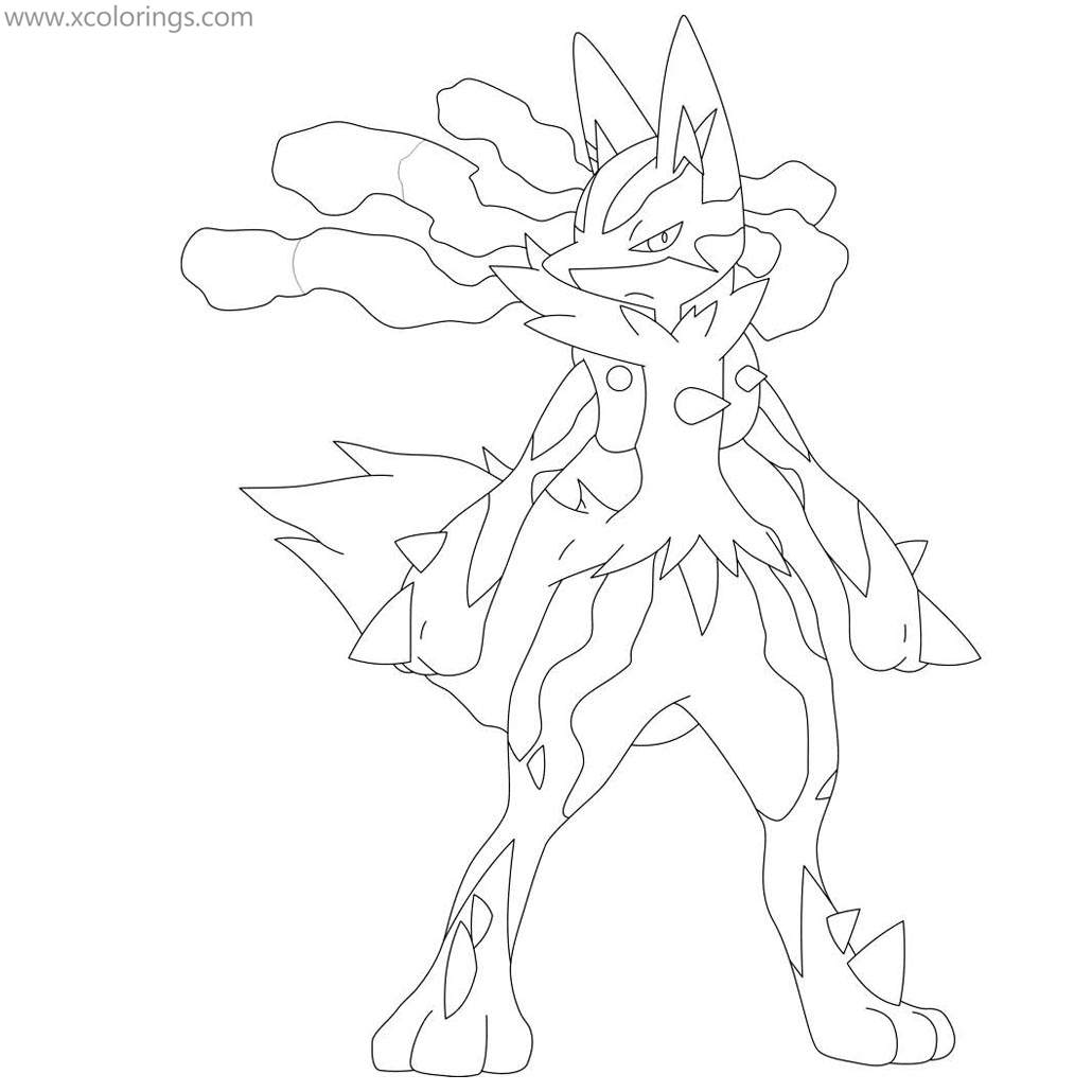 Mega Pokemon Evolved Lucario Coloring Pages Xcolorings Com
