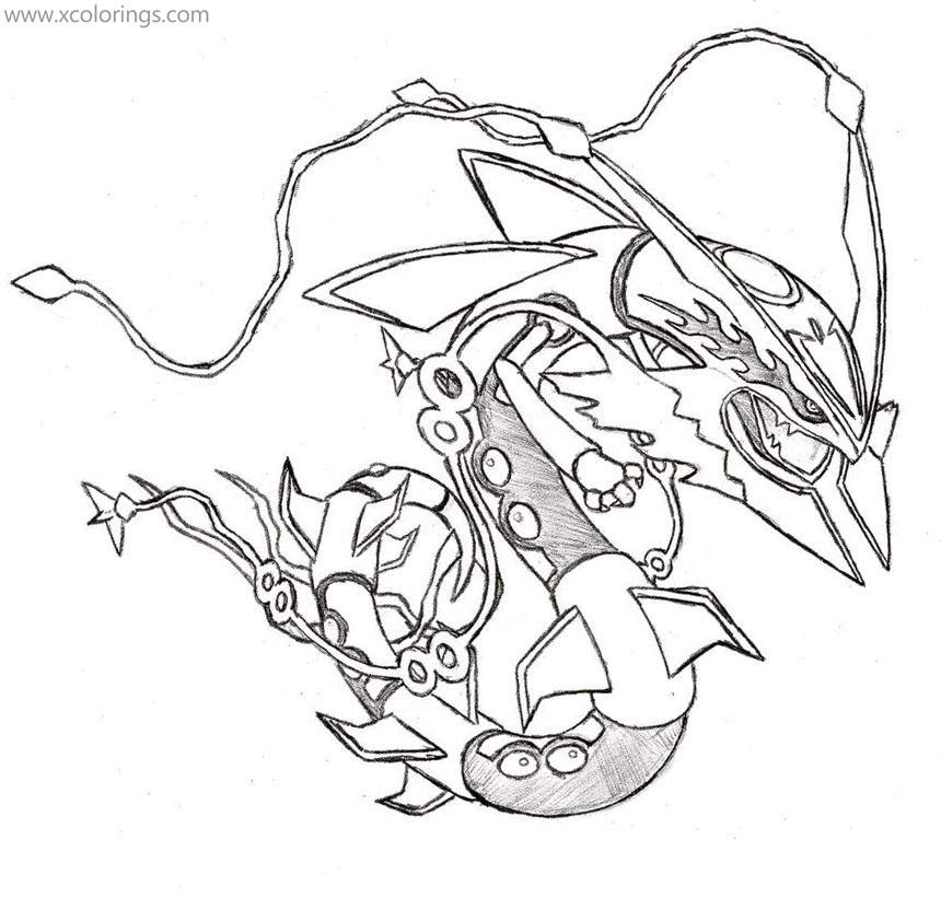 Mega Pokemon Rayquaza Coloring Pages Xcolorings Com