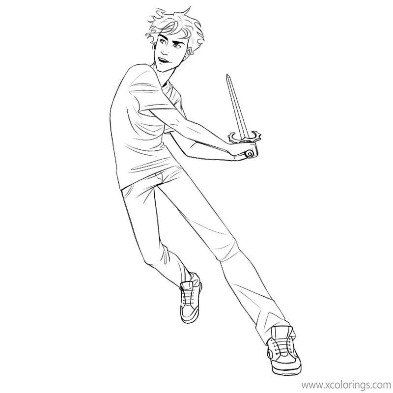 Percy Jackson Coloring Pages A Boy Is Fighting Xcolorings Com