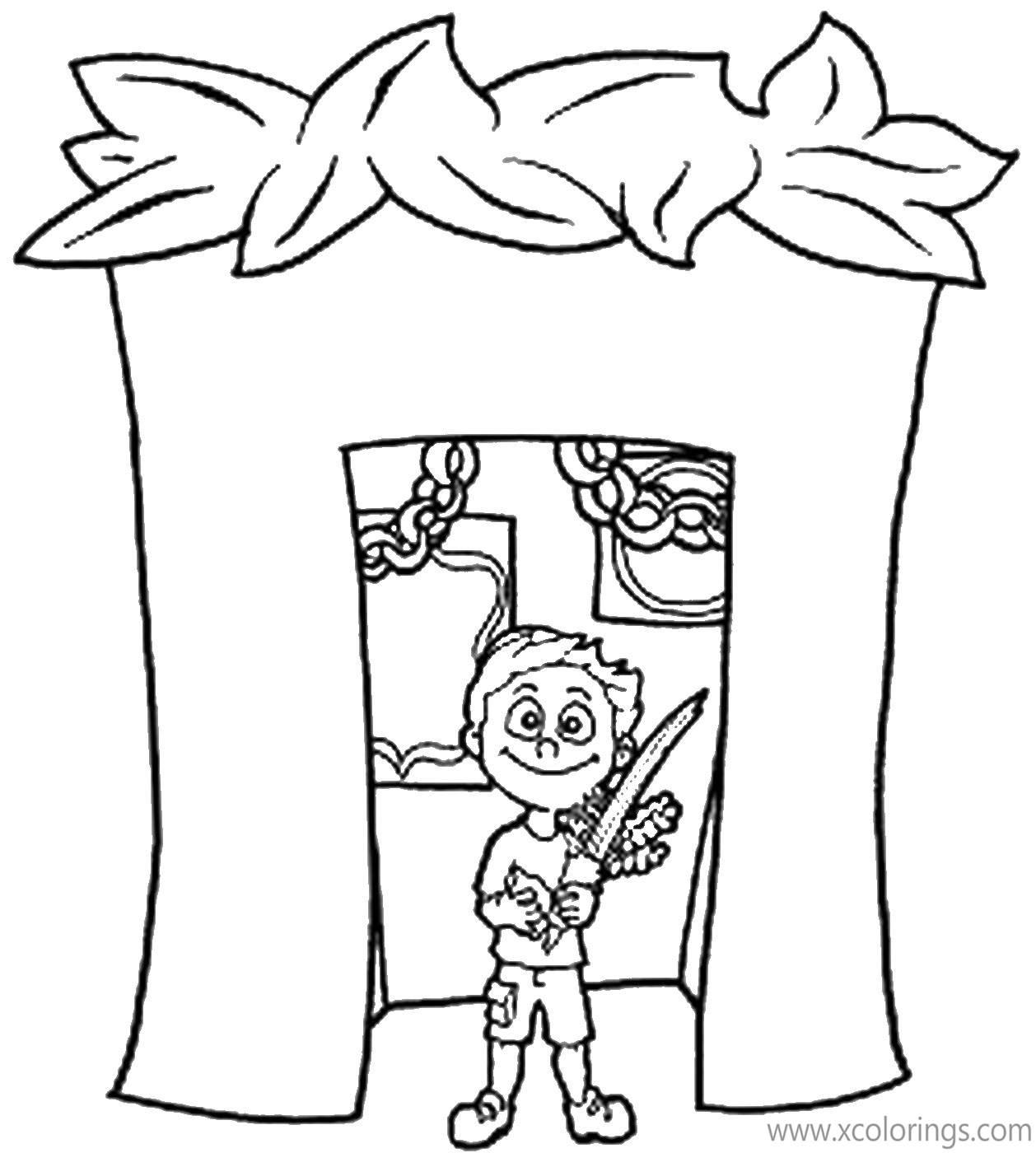 Sukkot Coloring Pages Boy And Sukkah Xcolorings Com