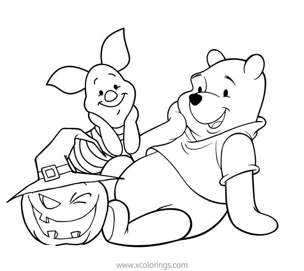 Winnie The Pooh Halloween Coloring Pages Winnie And Piglet Are So Happy Xcolorings Com