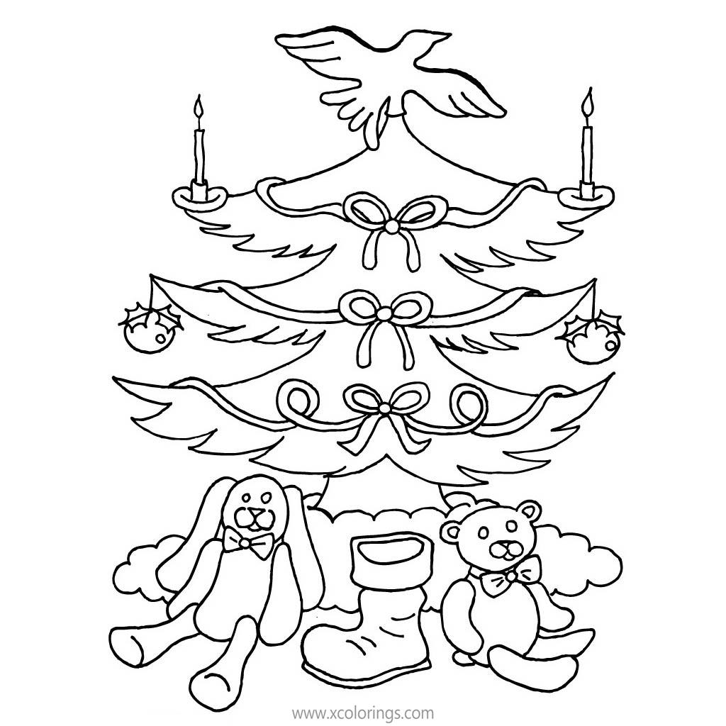 Free Christmas Tree Coloring Pages with Candles printable
